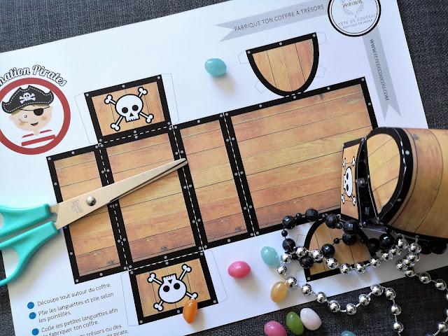 Coffre trésors pirates à imprimer gratuit tête de coucou anniversaire enfant animation bricolage