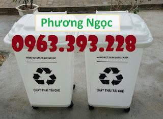Thùng rác y tế 60L nắp kín, thùng rác y tế 4 bánh xe 2f077c9e2e44cc1a9555