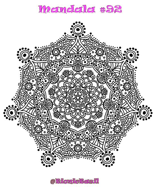 Mandalas on Monday ©BionicBasil® Colouring With Cats #92 Downloadable Image