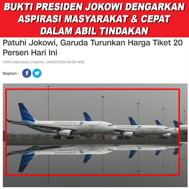 Patuhi Jokowi, Garuda Turunkan Harga Tiket 20 Persen Hari ini