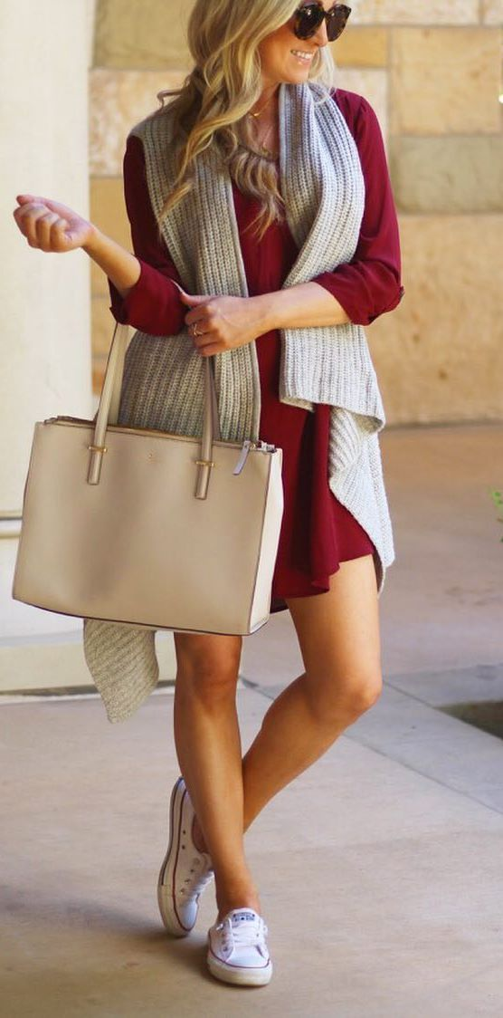 beautiful outfit idea : dress + bag + knit vest + sneakers