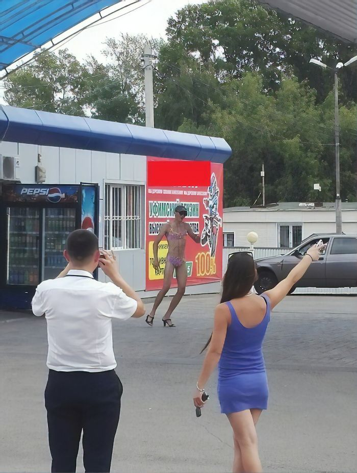 Russian Gas Station Offers Free Fuel For Anyone In A Bikini; Guys Also Show Up