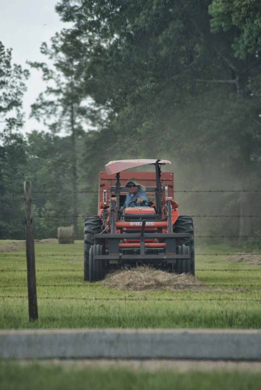 Hay bales and tractors in Louisiana