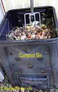 Compost Bins - put kitchen scrapes, lawn clippings, shredded paper, etc. Turn to add air.