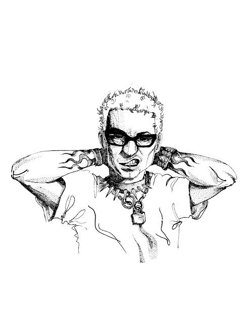 Stippled Linkin Park Fan Art Chester Cartoon