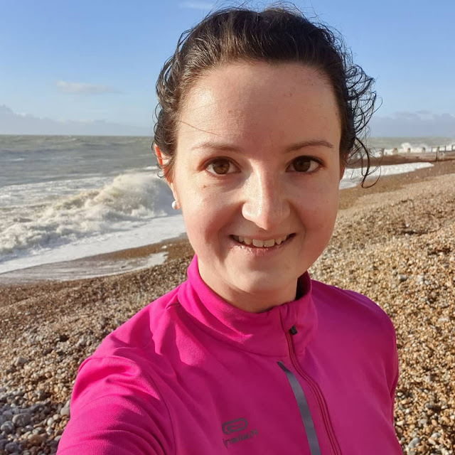 Runner selfie on Eastbourne beach