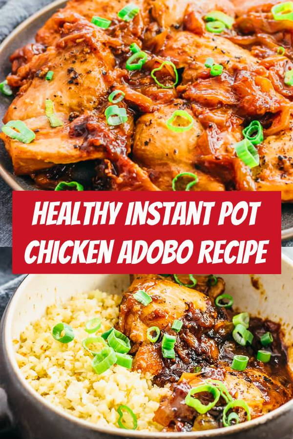 Instant Pot Chicken Adobo is an authentic recipe that represents easy to make, quick, simple, and traditional Filipino comfort food.#chicken #instantpot #keto It's great for healthy diets like keto, low carb, gluten free, and adjustable for paleo & whole 30.