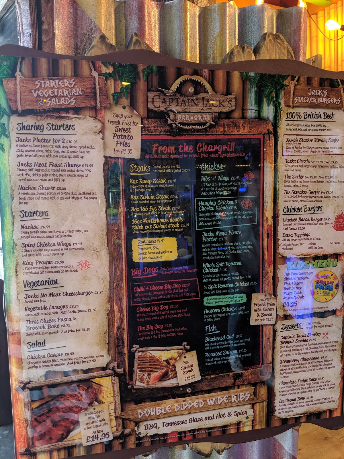 An A-Z Guide to Coral Island, Blackpool  - Captain Jack's Menu