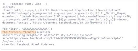 The Facebook Pixel code snippet with only the Lead standard event