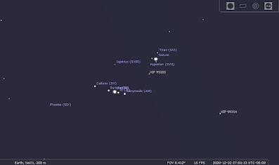 Jupiter and Saturn 6 arc-minutes apart