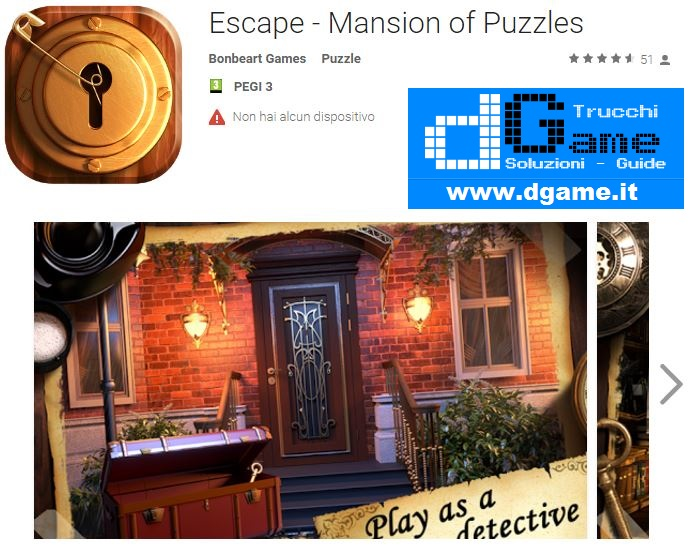 Soluzioni Escape - Mansion of Puzzles livello 41 42 43 44 45 46 47 48 49 50 | Trucchi e Walkthrough level