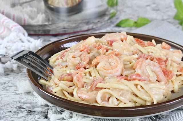 Easy Jerk Linguine Alfredo with Shrimp