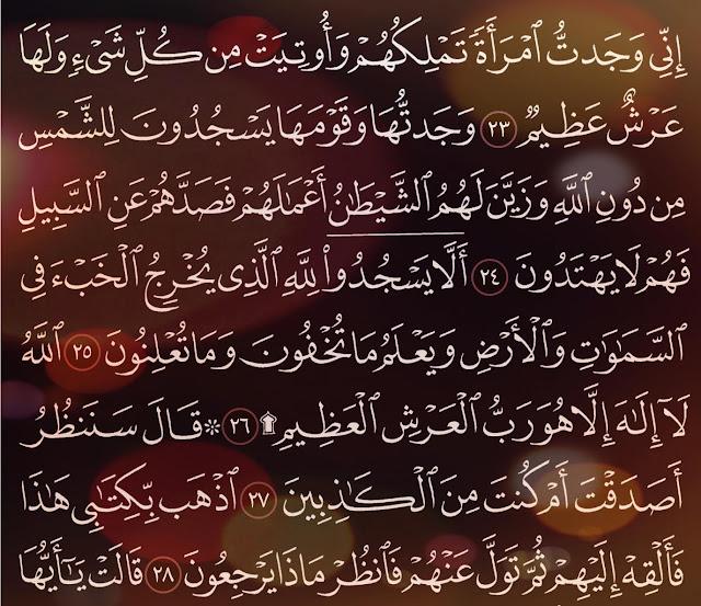 شرح وتفسير سورة النمل surah An-Naml ( من الآية 19 إلى ألاية 35 )