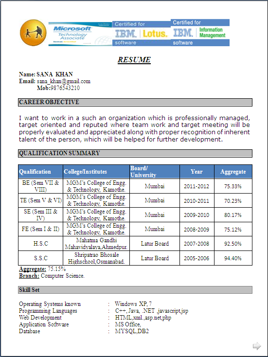 Computer Science Fresher Resume Format Resume Formats