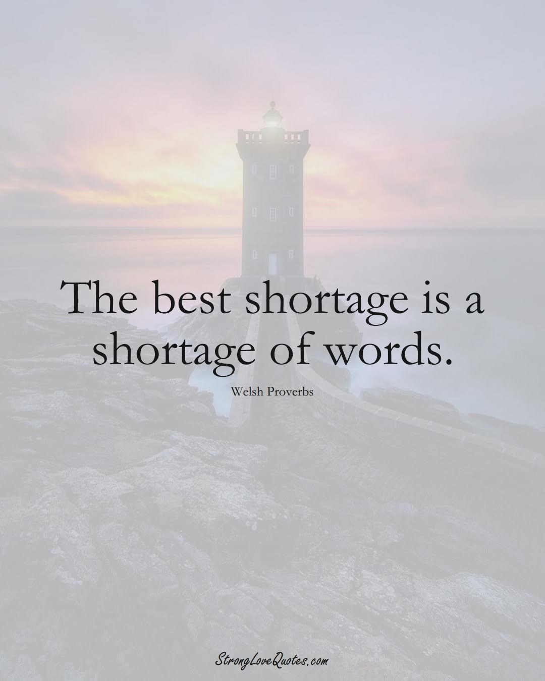 The best shortage is a shortage of words. (Welsh Sayings);  #EuropeanSayings