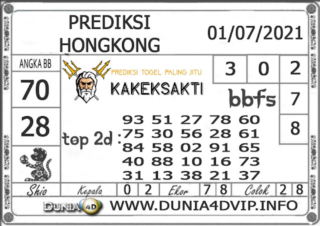 Prediksi Togel HONGKONG DUNIA4D 01 JULI 2021