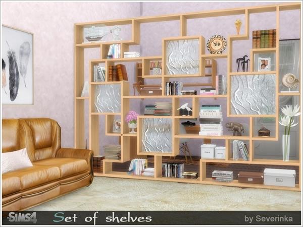 Set of shelves Набор полок для The Sims 4 Набор из восьми разных полок в разных стилях. В комплект входят напольные и настенные полки. Напольные полки можно использовать как перегородку. Автор: Severinka_