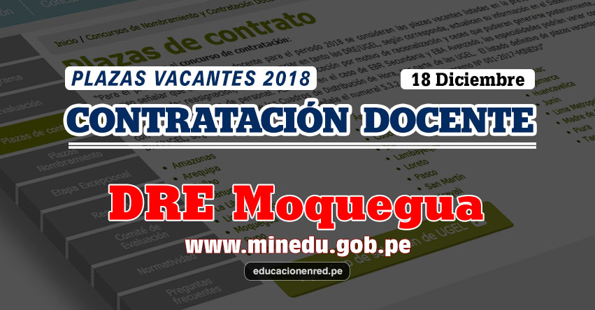 DRE Moquegua: Plazas Vacantes Contrato Docente 2018 (.PDF) www.dremoquegua.gob.pe