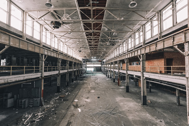 second floor abandoned industrial space view