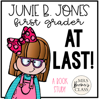 Junie B. Jones First Grader at Last! These literacy activities are perfect for First Grade and Second Grade guided reading. Common Core aligned. #1stgrade #2ndgrade #novelstudy #bookstudy #backtoschool #literacy #guidedreading #1stgradeguidedreading #juniebjones #bookstudies #bookcompanion #bookcompanions #1stgradereading
