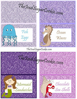 Fish Eggs, Ocean Waves, Mermaid Sandwiches, Chocolate Sea Shells, DIY Mermaid Under The Sea Birthday Party Printables-Food Label Tent Cards, Cupcake Toppers, Flag Garland Hanging Banner-Purple Glitter Digital Download Template-Seahorse, Jellyfish, Hermit Crab Chocolate Sea Shells, Fish Eggs, Ocean Waves, Mermaid Sandwiches How many Pearls, Take A Guess, Guess How Many Seashells, How Many?