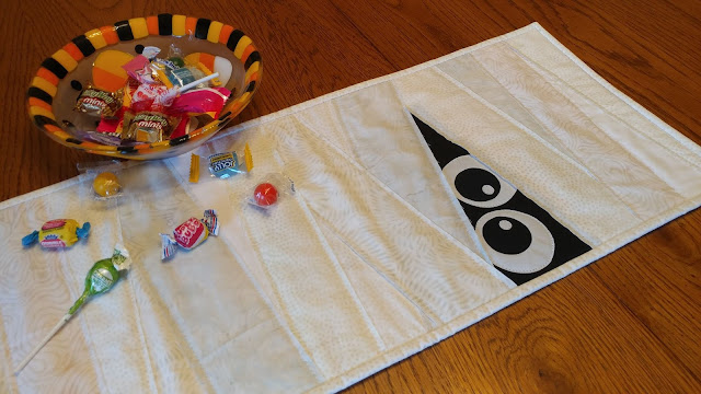 Scrappy Mummy - a raw edge applique and quilt as you go table runner