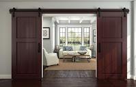 Sliding barn door made from polished mahogany wood