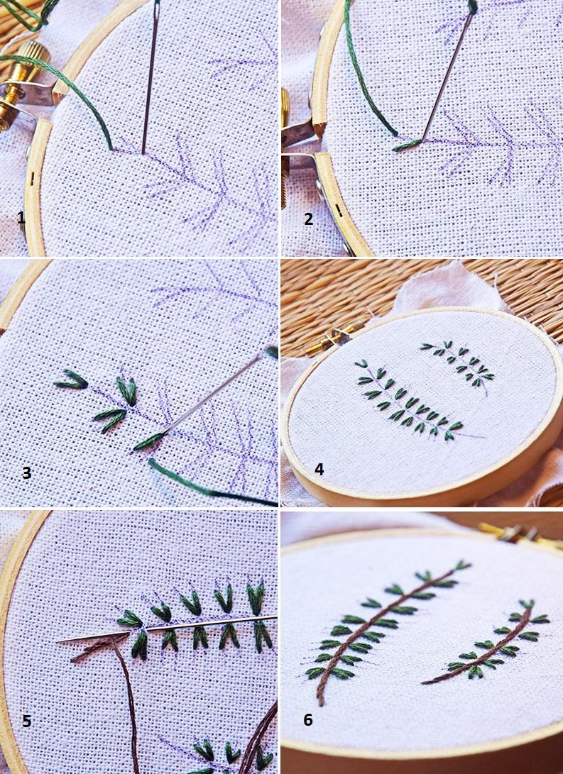 Hướng dẫn thêu lá bằngmũi thêu Straight stitch