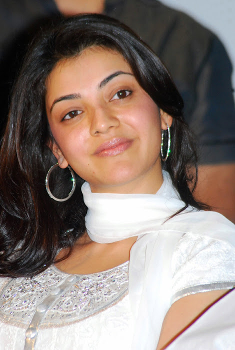 Actress Kajal Agarwal Spicy Look Face Closeup Without Makeup In White Dress