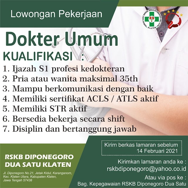 Loker Dokter RSKB Diponegoro Dua Satu Klaten, Jawa Tengah
