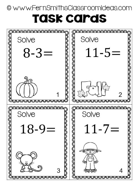 Fall Addition and Subtraction Task Cards and Printables