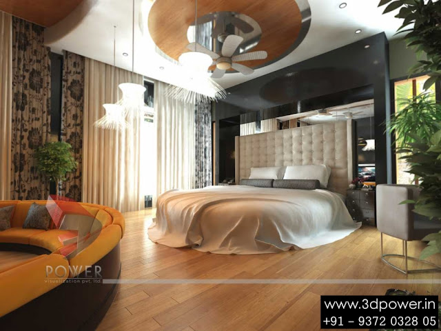 3D Architectural Interior Bedroom With Round Bed Design | 3D Bedroom