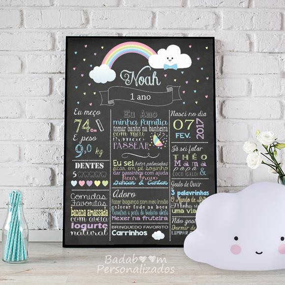 chuva de bençãos, nuvem, nuvens, arte digital, chalkboard, quadro negro, poster, posteres, posters, decoração, festa, aniversário, infantil, quarto