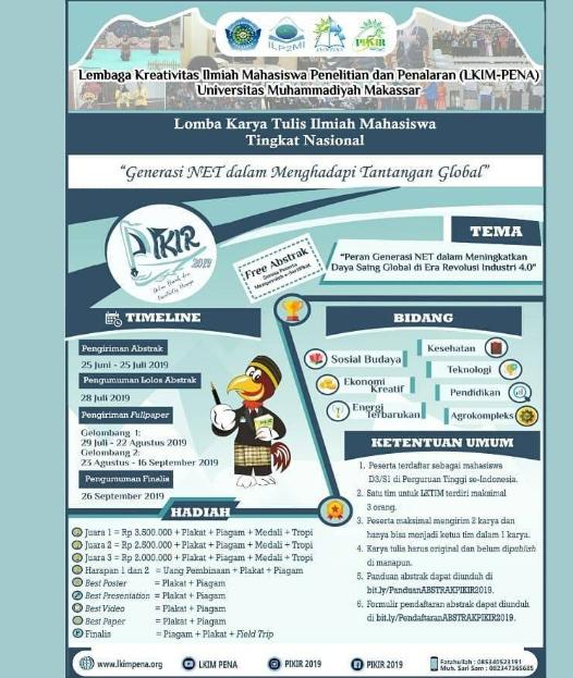 Lomba Karya Tulis Ilmiah Nasional PIKIR 2019 di Universitas Muhammadiyah Makassar