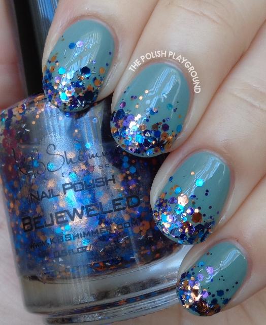 Jewel Toned Glitter Gradient Nail Art