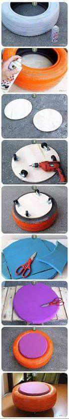 Cómo hacer un puff con neumáticos reciclados