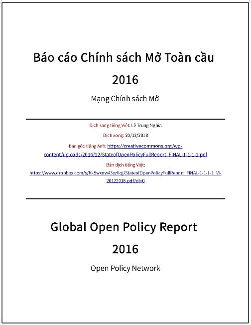 'Báo cáo chính sách Mở Toàn cầu 2016' - bản dịch sang tiếng Việt
