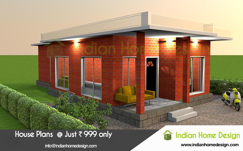 Indian Home Design Single floor 2 bedroom plan