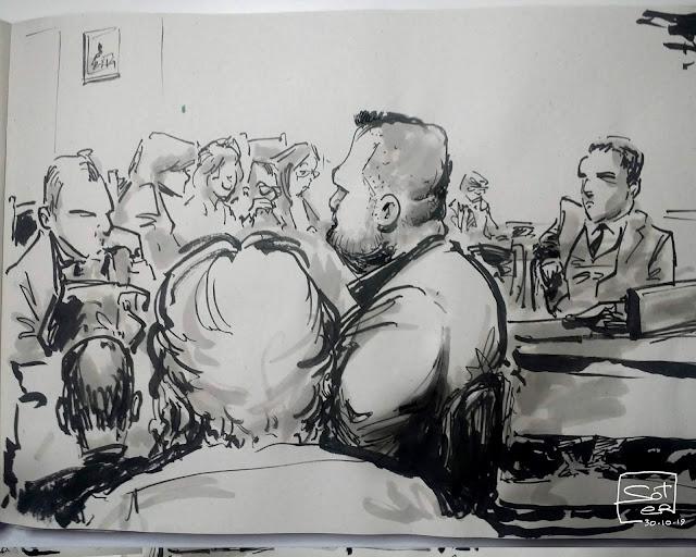 Δίκη της Χρυσής Αυγής , απολογία Λαγού, σκαριφήματα - σκίτσα