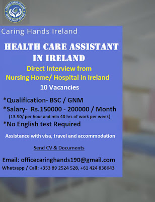 HEALTH CARE ASSISTANT IN IRELAND - APPLY NOW