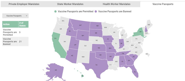 Map of 21 States Where Vaccine Passports Are Banned