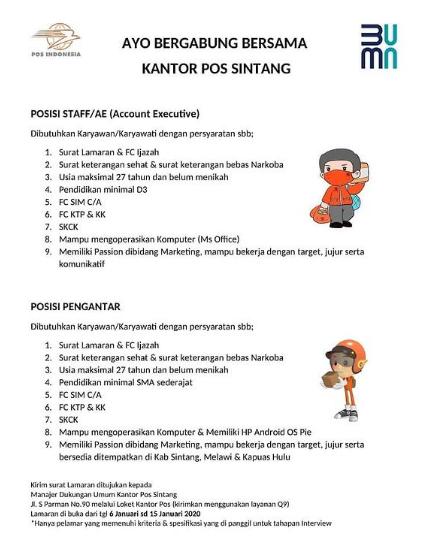 Kantor Pos Indonesia Tingkat SMA SMK D3 Bulan Januari 2021