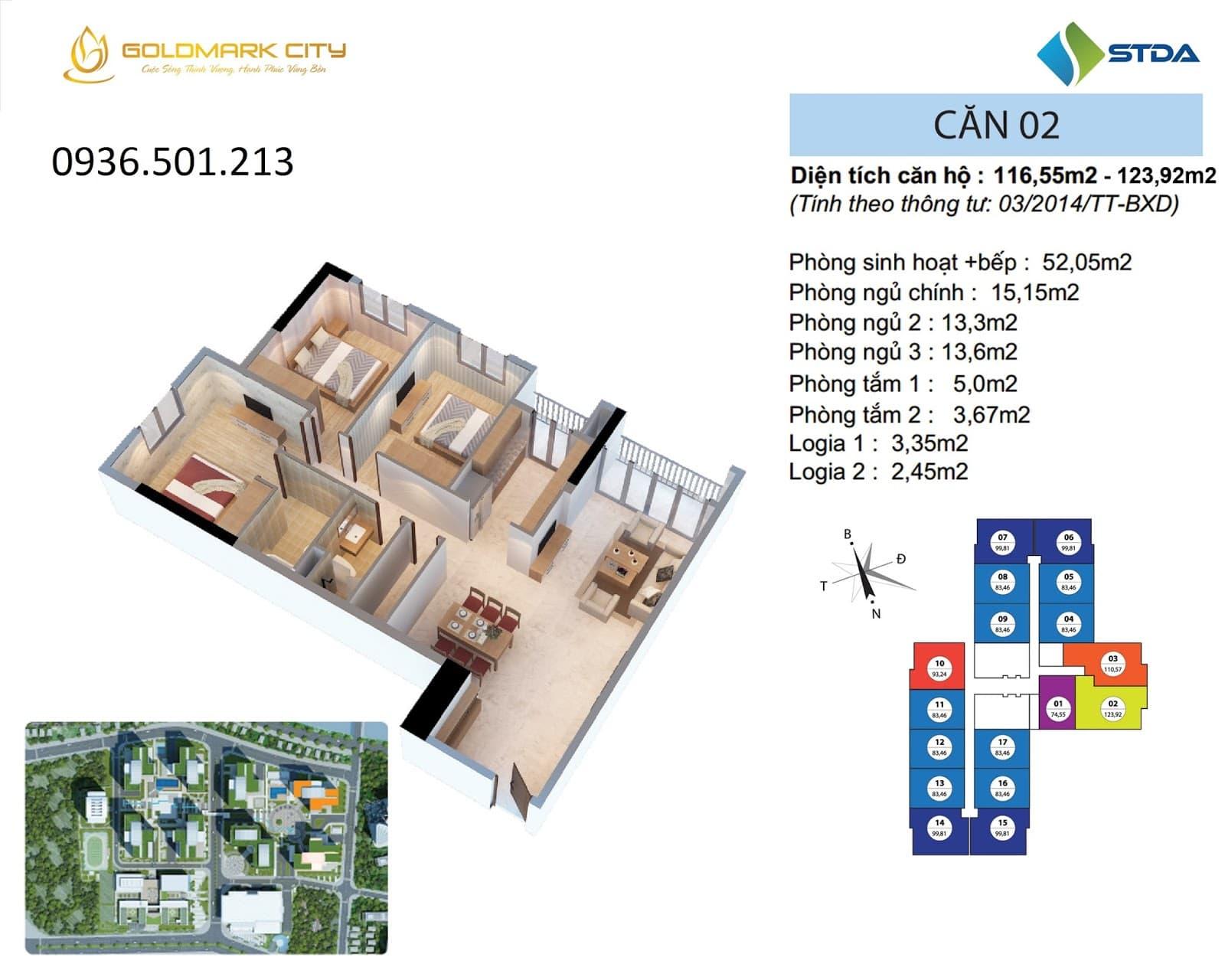 Mặt bằng căn hộ số 02 ruby 2- Goldmark City 136 Hồ Tùng Mậu