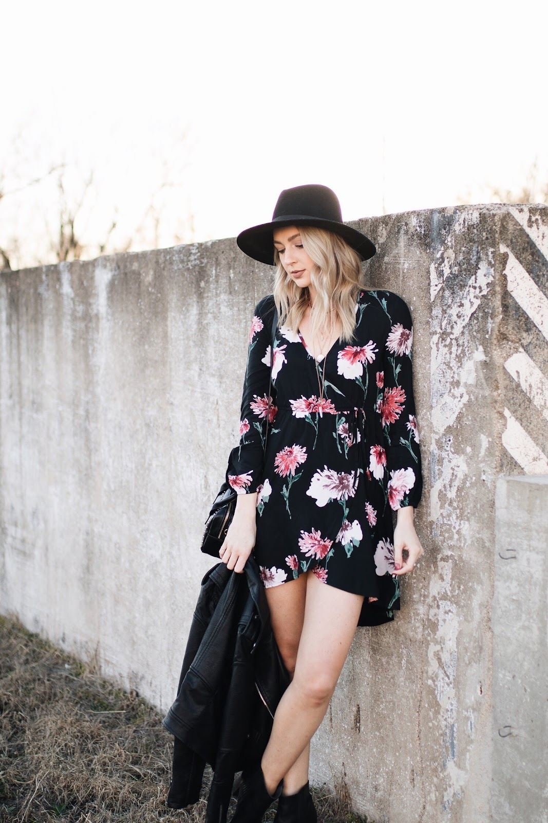 Band of Gypsies black floral wrap dress