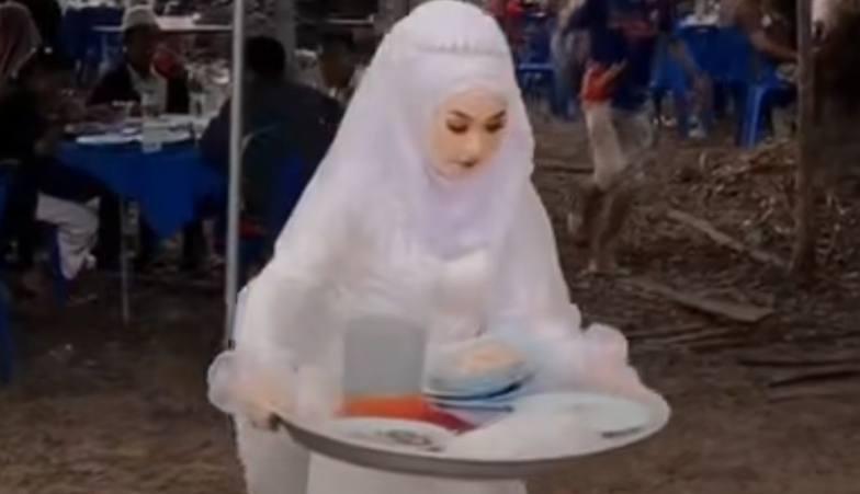 Viral di Tiktok Video Pengantin Wanita Sibuk Angkut Piring Kotor di Acara Pernikahannya