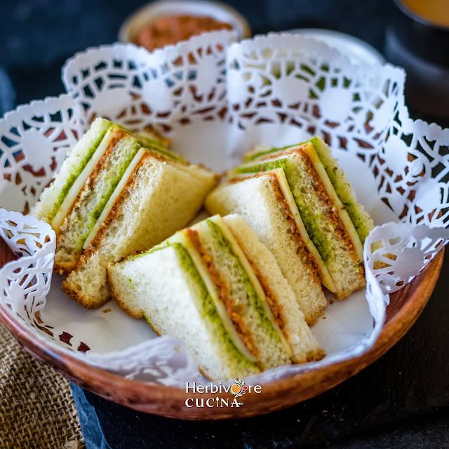 Tricolor sandwiches in a tea doily