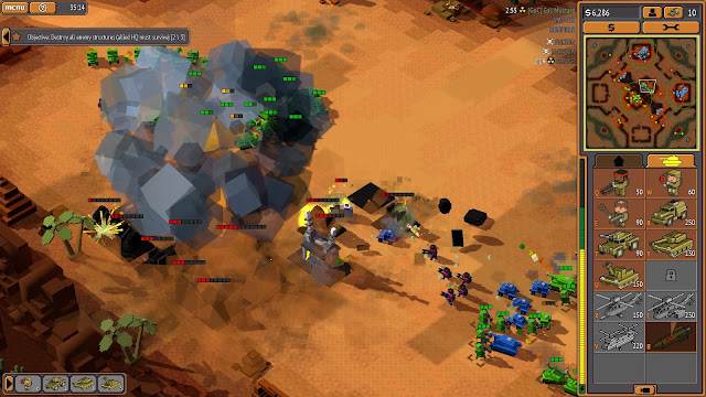 Screenshot of enemy base being invaded in 8-Bit Armies