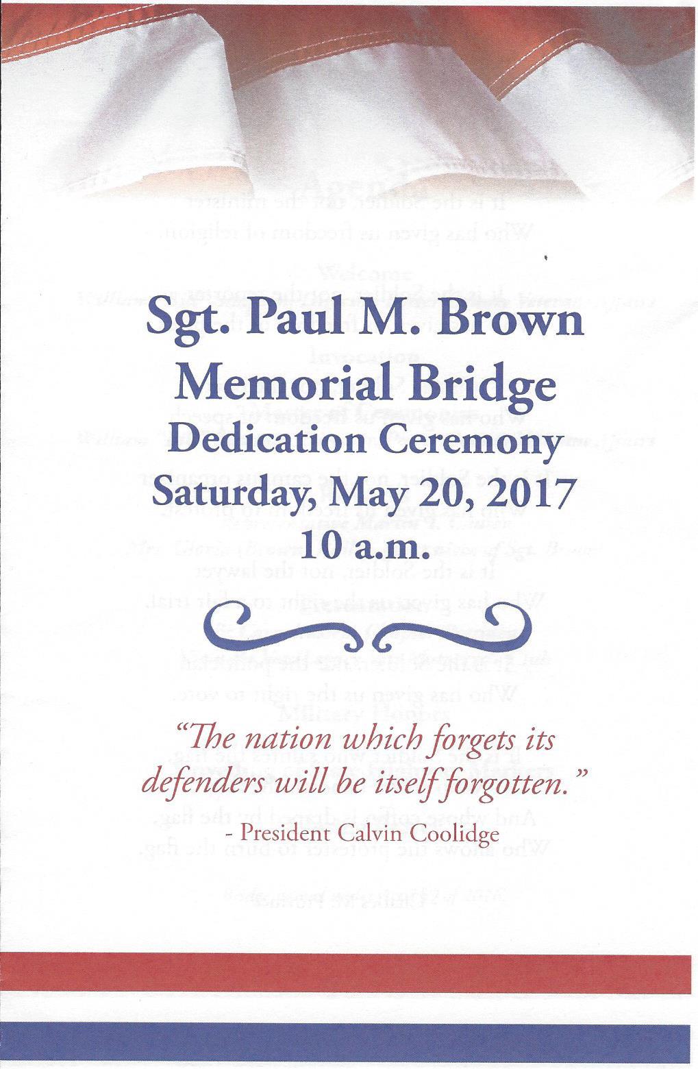 Army Pa Program >> Awesome Austin: SGT. Paul M. Brown Memorial Bridge ...