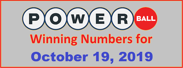 PowerBall Winning Numbers for Saturday, October 19, 2019