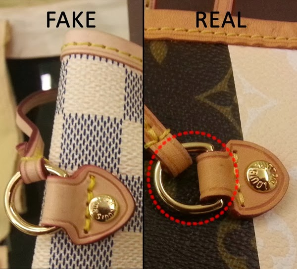 Gambar Di Atas Menunjukkan Perbezaan Bentuk D Ring Antara Bag Lv Yang Original Bulatan Merah Dan Fake Sesuai Dengan Namanya Pada Louis